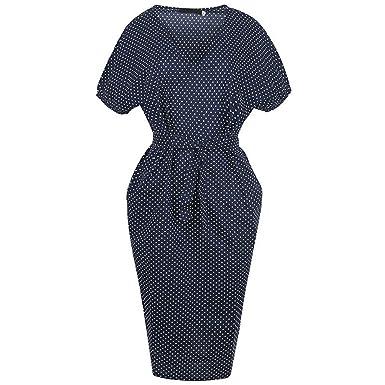 Xaviera Mujeres Vestido ajustado Vintage 1950s Mujeres Lunares Bodycon Vestido Navy S