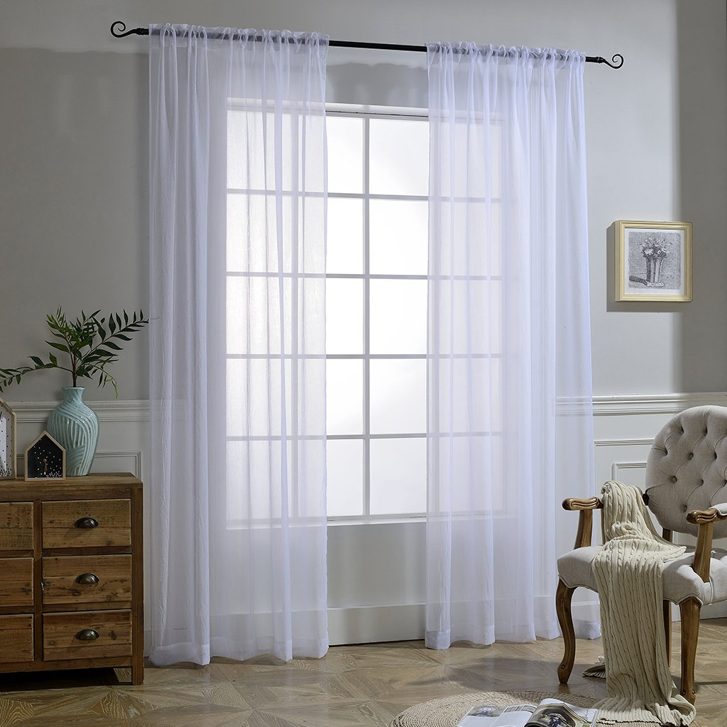 White Sheer Curtains Voile Draperies - NICETOWN Rod Pocket & Back Tab Crushed Sheer Window Treatment Voile
