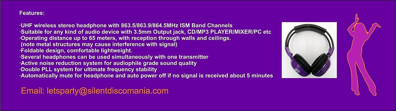 Sistema Silent Disco – 10 Transmisor sistema de auriculares Silent Disco Inc (Party Pack 10) Silent Disco Auriculares – Fiestas con Silent Disco Mania: ...