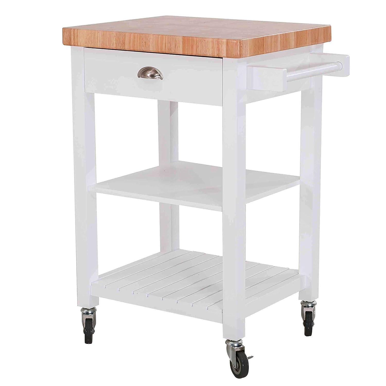 SJ Collection Bedford Kitchen Cart, White