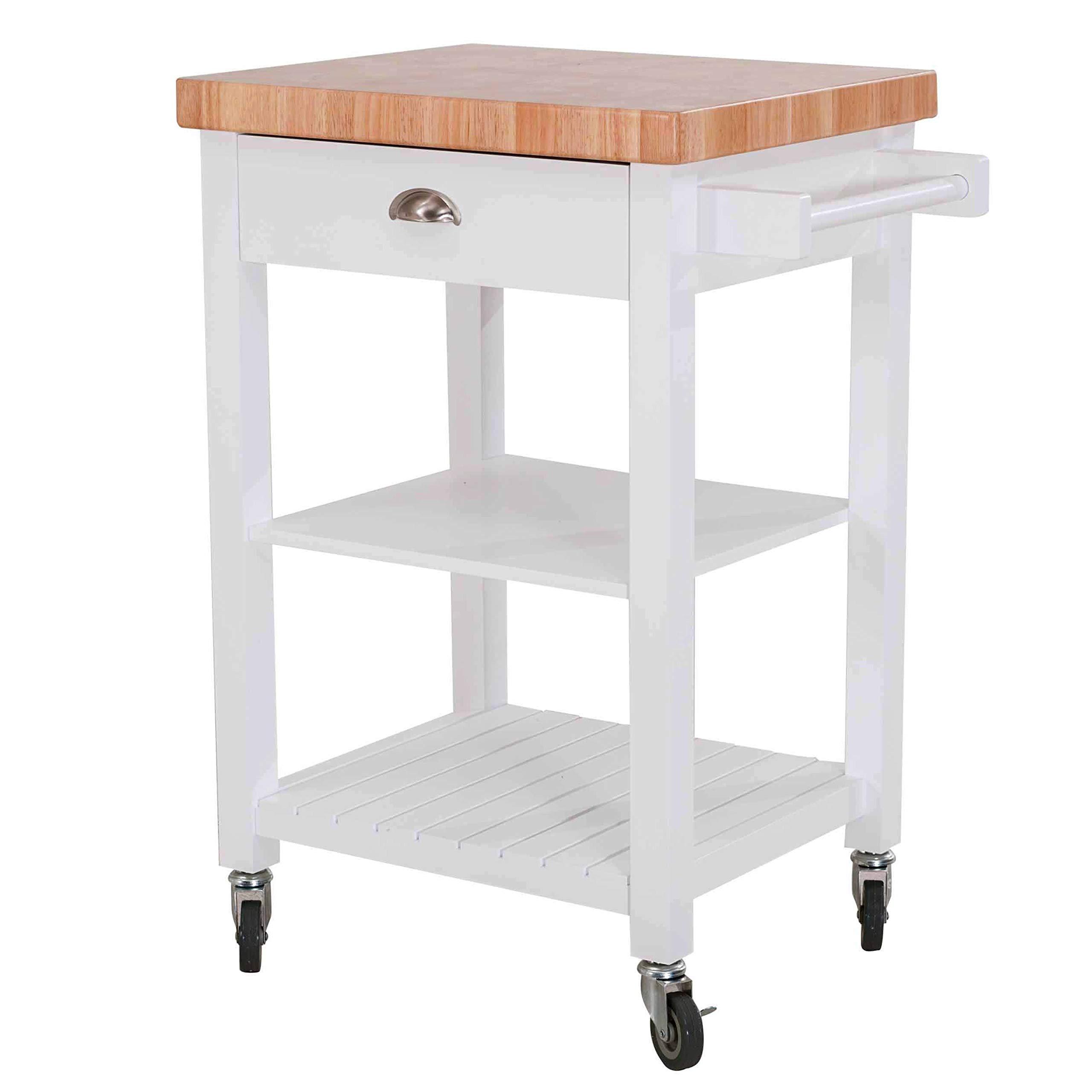 SJ Collection 120306009-W Bedford Kitchen Cart, White