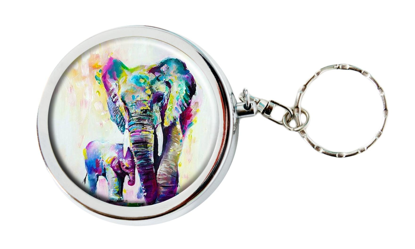 Personalized Custom Portable Travel Size Pocket Purse Ashtray Stainless Steel Circular Keychain with Cigarette Holder Case (Abstract Aesthetic Elephant)