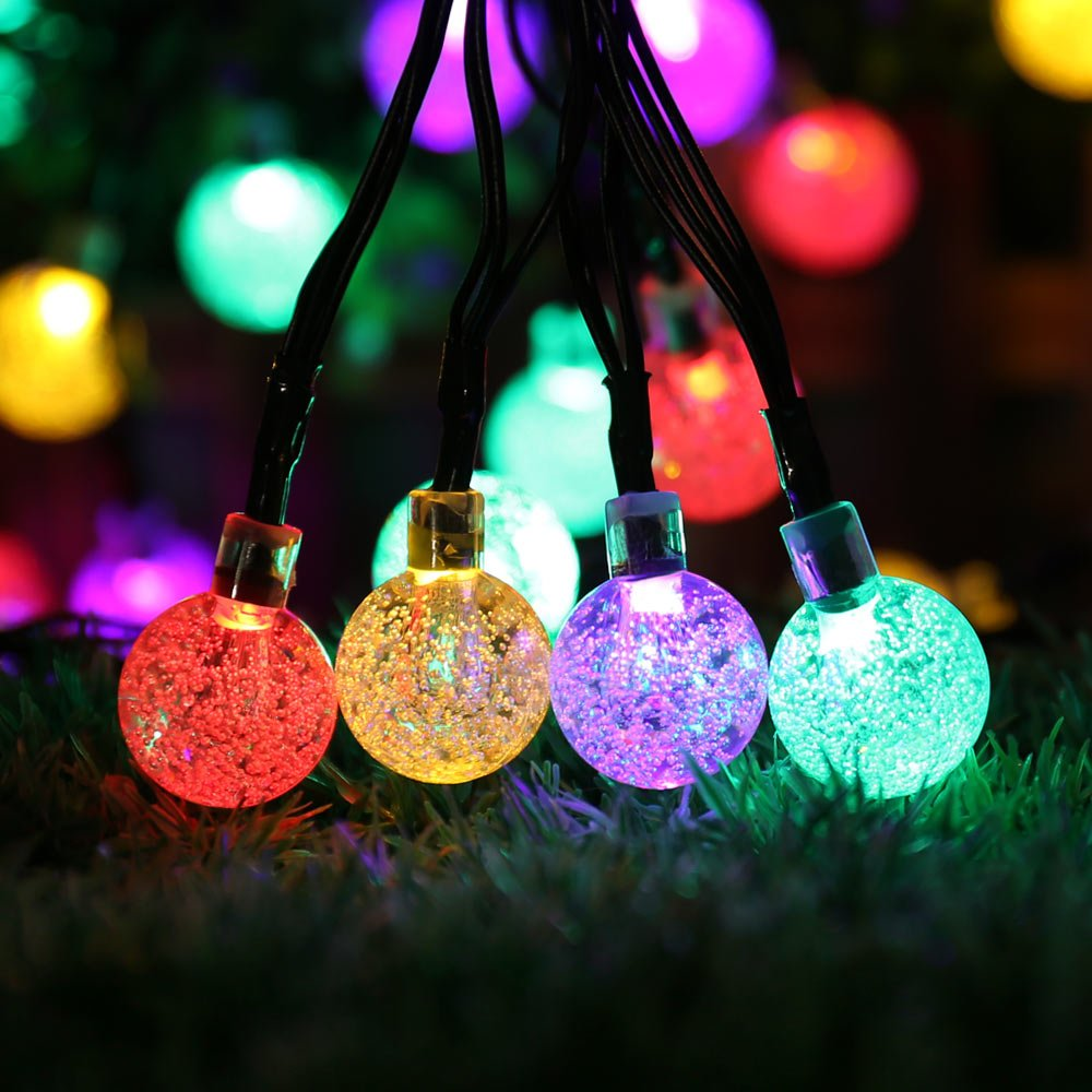 Amazon.com: Icicle Solar Christmas Lights, 20ft 30 LED Solar String Lights  Outdoor Globe Fairy Lighting For Indoor/Outdoor, Patio, Lawn, Garden,  Wedding, ...