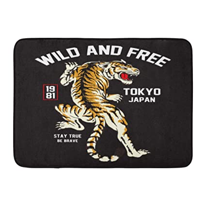 45c0255fc1add Image Unavailable. Image not available for. Color: Ptrfedss Doormats Bath  Rugs Outdoor/Indoor Door Mat Graphic Japanese Tiger and Tattoo ...