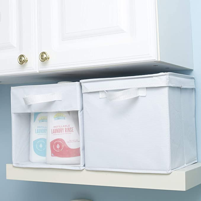 100/% Woven Oxford Nylon Bin with Mesh See Thru Side 10.5 x 10.5 x 10 Inches Foldable, EASYVIEW Storage Cube with Handle Bright White