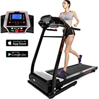 ANCHEER Electric Folding Treadmill, APP Control Smart Digital Folding Treadmill, Folding Exercise Fitness Machine, Motorized Treadmill with Downloadable Free of Charge App for Running & Walking