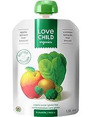 Love Child Organics Apples, Spinach, Kiwi & Broccoli Puree Pouches with Quinoa 6m+ (Pack of 12)