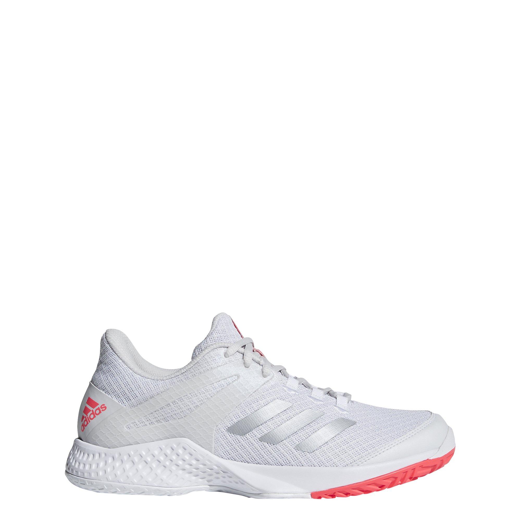 adidas Women's Adizero Club 2 Tennis Shoe, White/Matte Silver/Grey, 8.5 M US