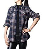 NUTEXROL Women's Casual Long Sleeve Cotton Flannel Plaid Shirts