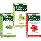Indus Valley Combo Of Organic Hibiscus Powder, Amla Powder, Neem Powder- 100 Grams Each (Pack Of 3)