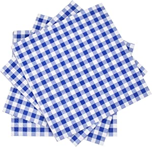 Gatherfun Cocktail Napkins 3-ply 80PCS Blue and White Gingham disposable Paper Napkins Beverage napkins for Restaurant Bar Picnic Birthday Party