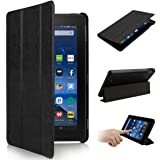 2015 New Fire 7'' Case - Oenbopo Premium Ultra Slim Leather Folio Stand Case Cover for Amazon New Fire 7'' Tablet 2015 Version Tablet Only (Black)