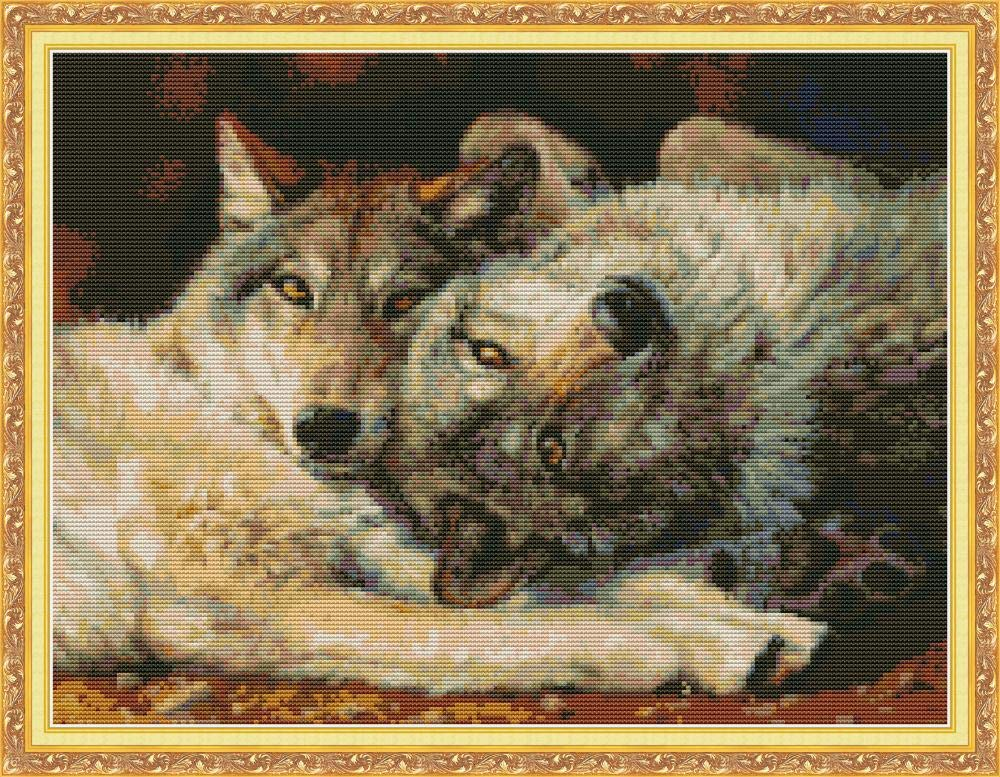 Wolf CaptainCrafts New Stamped Cross Stitch Kits Preprinted Pattern Counted Embroidery Starter Kits for Beginner Kids and Adults Stamped 11CT
