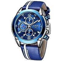 Men's Sport Chronograph Watch, Leather Strap, Analogue Quartz Watch, Blue Silver Dial, 30 m Waterproof, Business Wristwatch