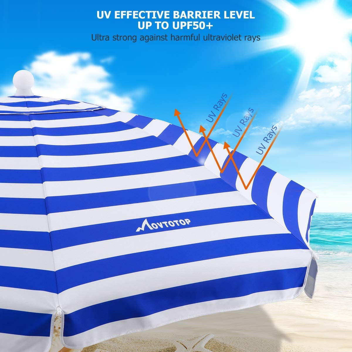 Beach Umbrella, UV 50+ Portable Protection Beach Umbrella with Sand Anchor & Tilt Mechanism, Blue/White