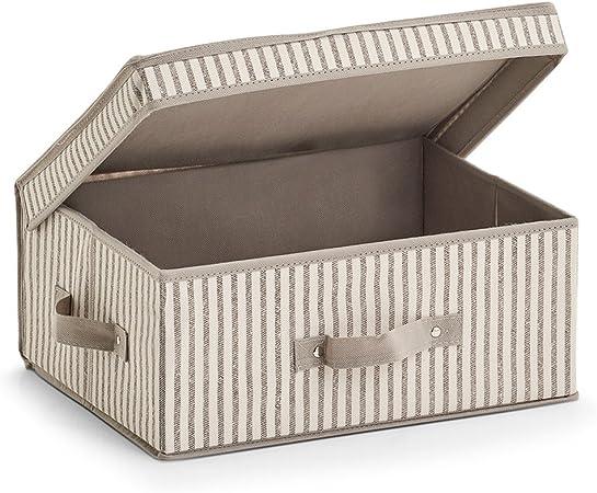 Zeller Caja con Tapa Stripes, Fieltro, Color Beige: Amazon.es: Hogar