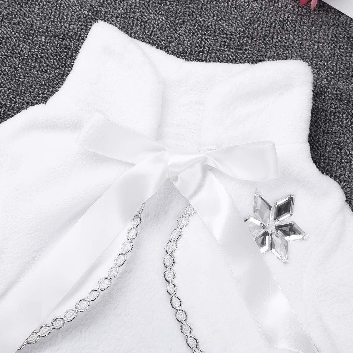 TiaoBug Kids Girls Faux Fur Jacket Coat Flower Girls Bolero Shrug Pompom Cape Wedding Bridesmaid Tippet Wrap