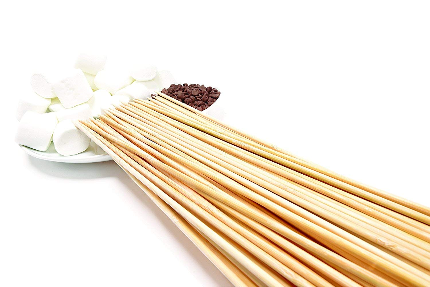 YEZZ Bamboo Marshmallow Roasting Sticks with 24 inch 5mm Thick Extra Long Heavy Duty Wooden Skewers, Roaster Barbecue Smores Skewers & Hot Dog Forks for Camping,Kebab Sausage by YEZZ