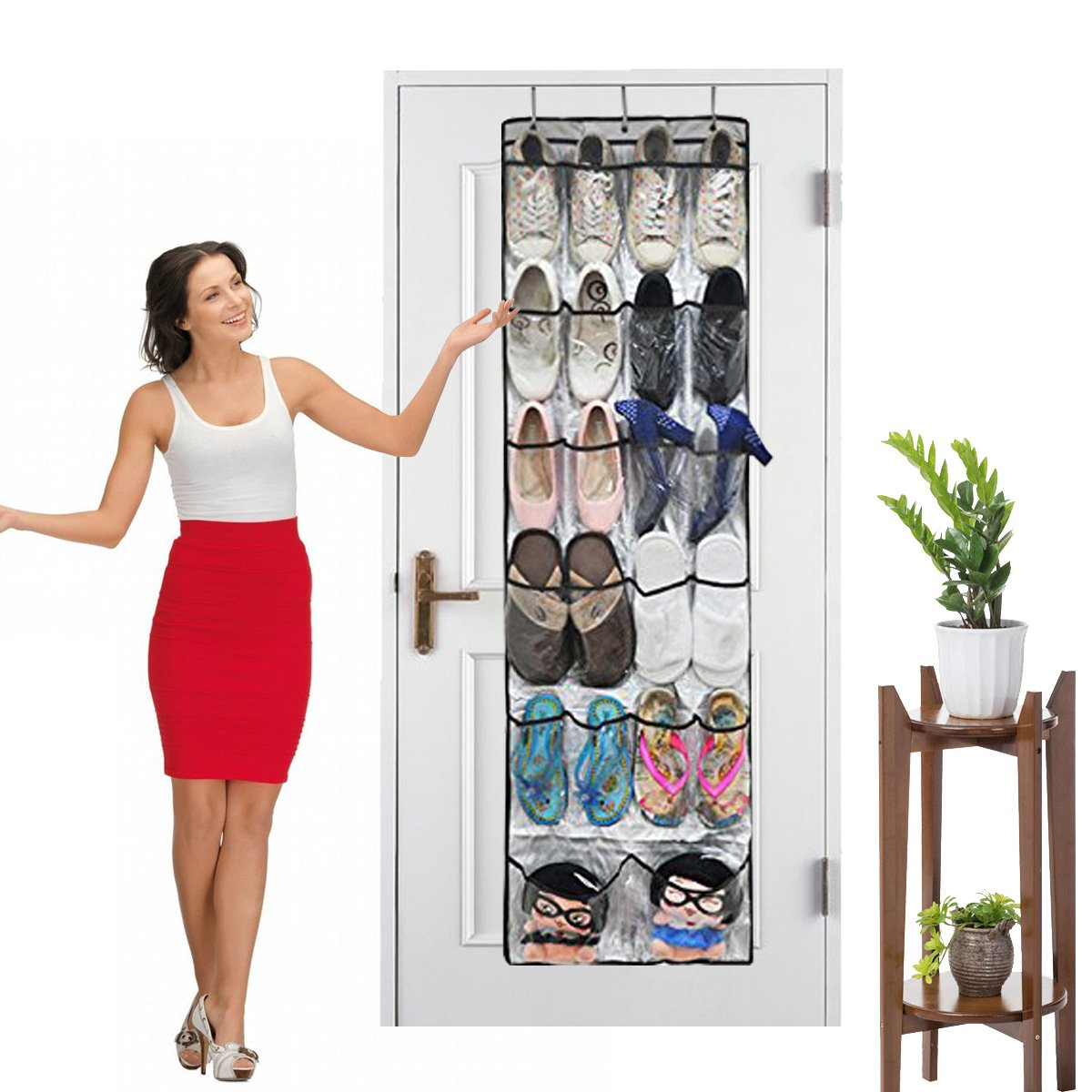 Ndier 24-Pockets Over the Door Organizer Shoe Racks Storage Hanging Bag Shoe Racks Foldable Wardrobes Storage Bag with Hooks , Space-saving Household Item , Best Gift for Your Mom and Girlfriend (2)