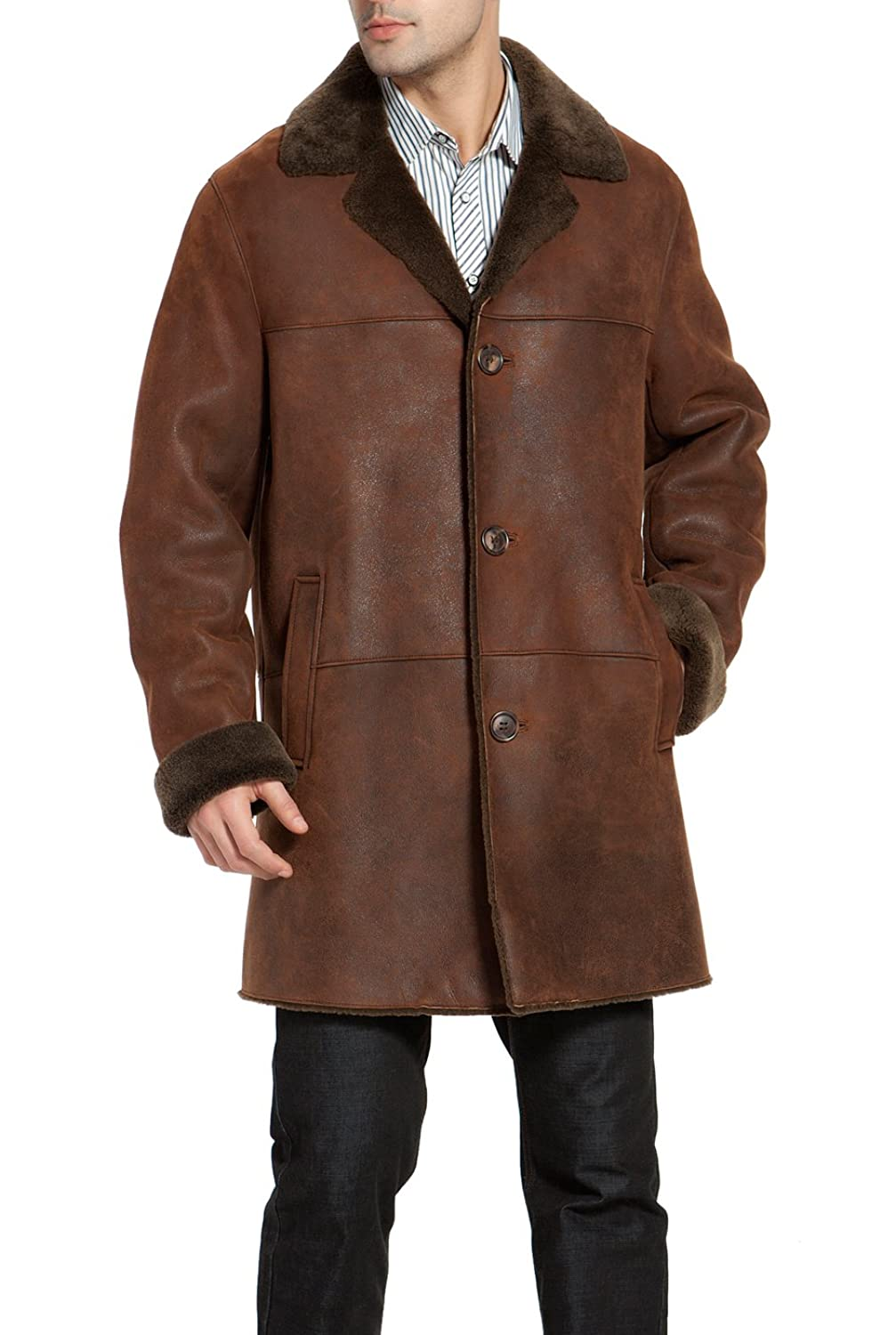 BGSD Men's Himalayan Sheepskin Shearling Long Coat