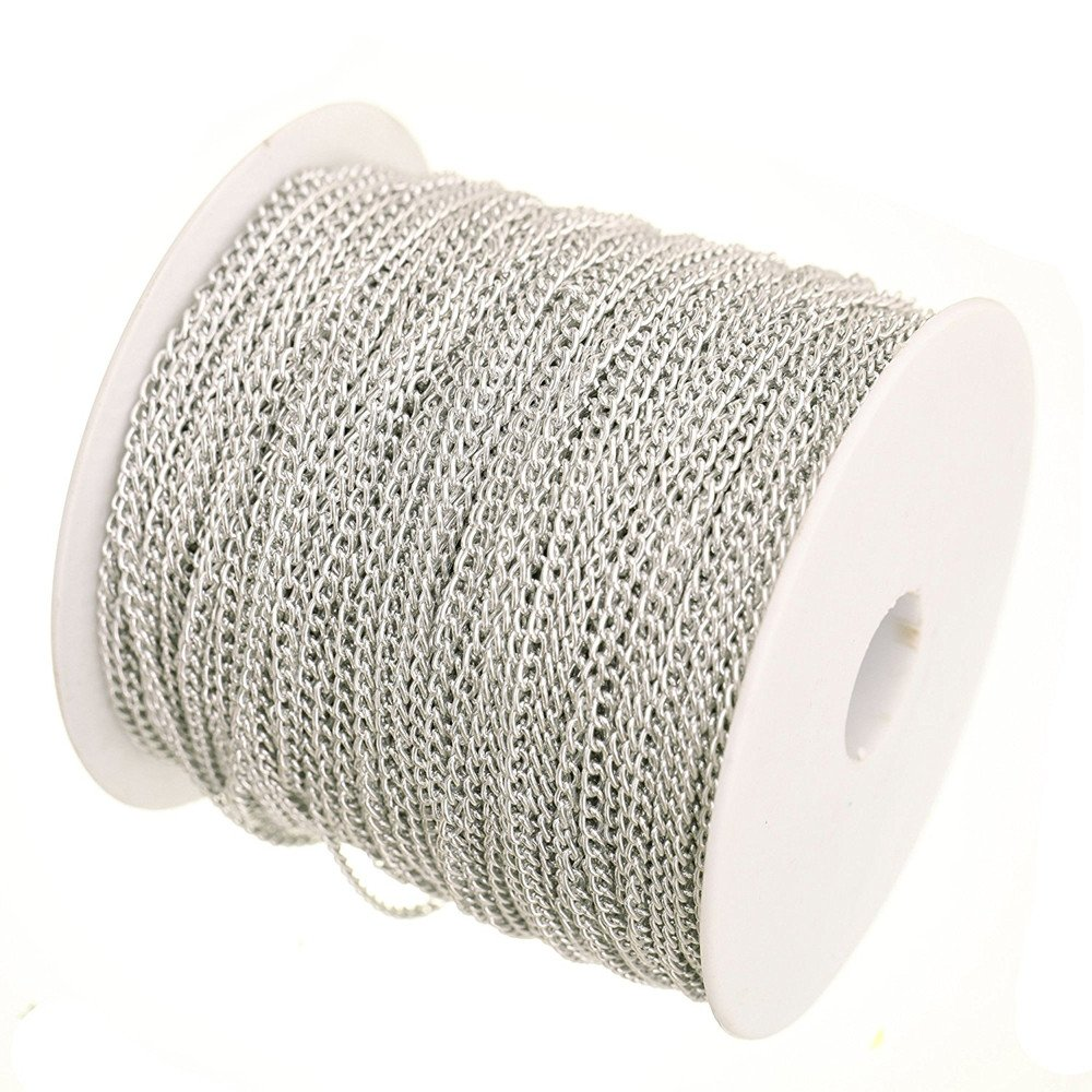 DWE Cable Chain 5 Meters Aluminum Plated Silver Link Chain For Jewellery Making 4x3mm