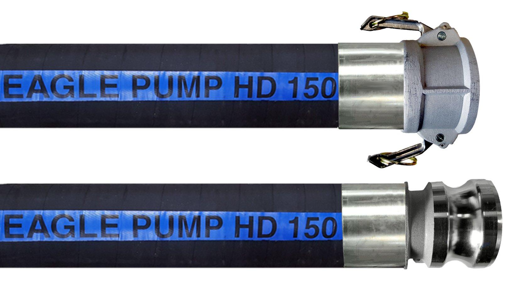 JGB Enterprises Eagle Hose Pump HD 150 Rubber Hose Assembly, Black, 2'' Male x Female Camlocks (CxE), 150 PSI Max Pressure, 2'' Hose ID, 20' Length by JGB Enterprises