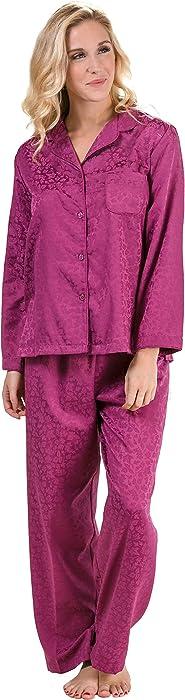 20f67d47af Miss Elaine Brushed Back Satin Pajamas Long Sleeve in Plum Leaves ...