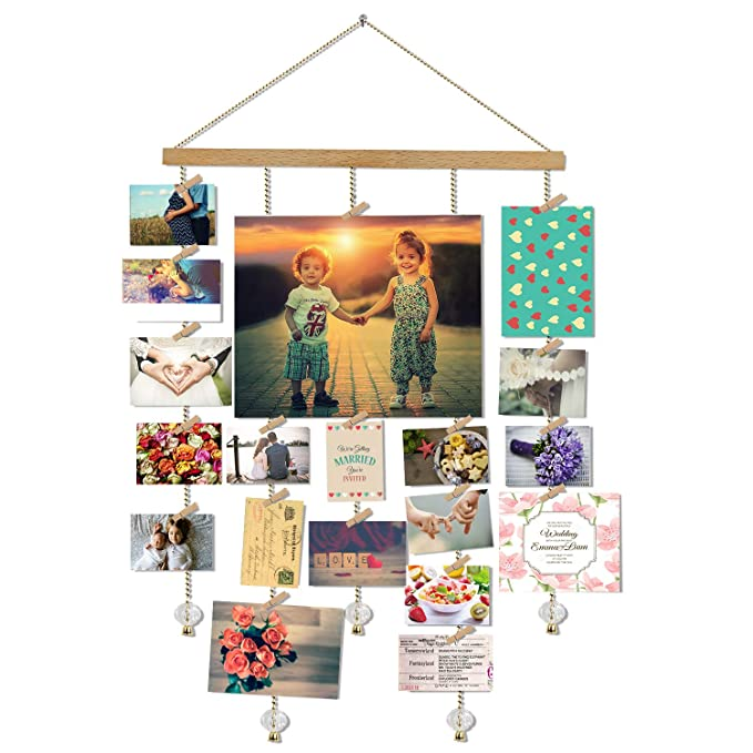 O-KIS Hanging Photo Display, DIY Picture Photo Frame Collage Set Includes Wood Clips, Natural Wood, Golden Chain with Crystal Pendant, 16×29 inch