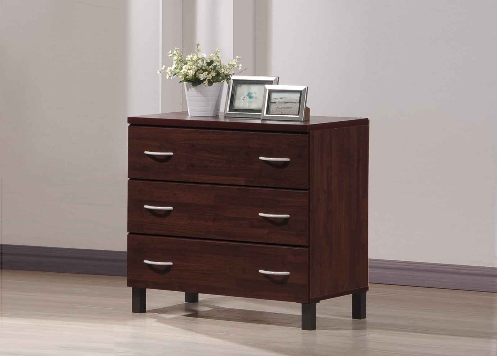 Wholesale Interiors Mason Finish Wood 3 Drawer Storage Chest, Oak Brown