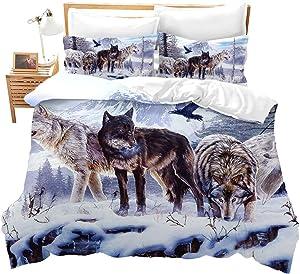 Erosebridal 3D Wolf Comforter Cover Queen Kids Teen Duvet Cover Set Animal Theme Decor Bedspread Cover Snow Wolf Pattern Quilt Cover Wild Animal Printed Bedding for Adult Women Men