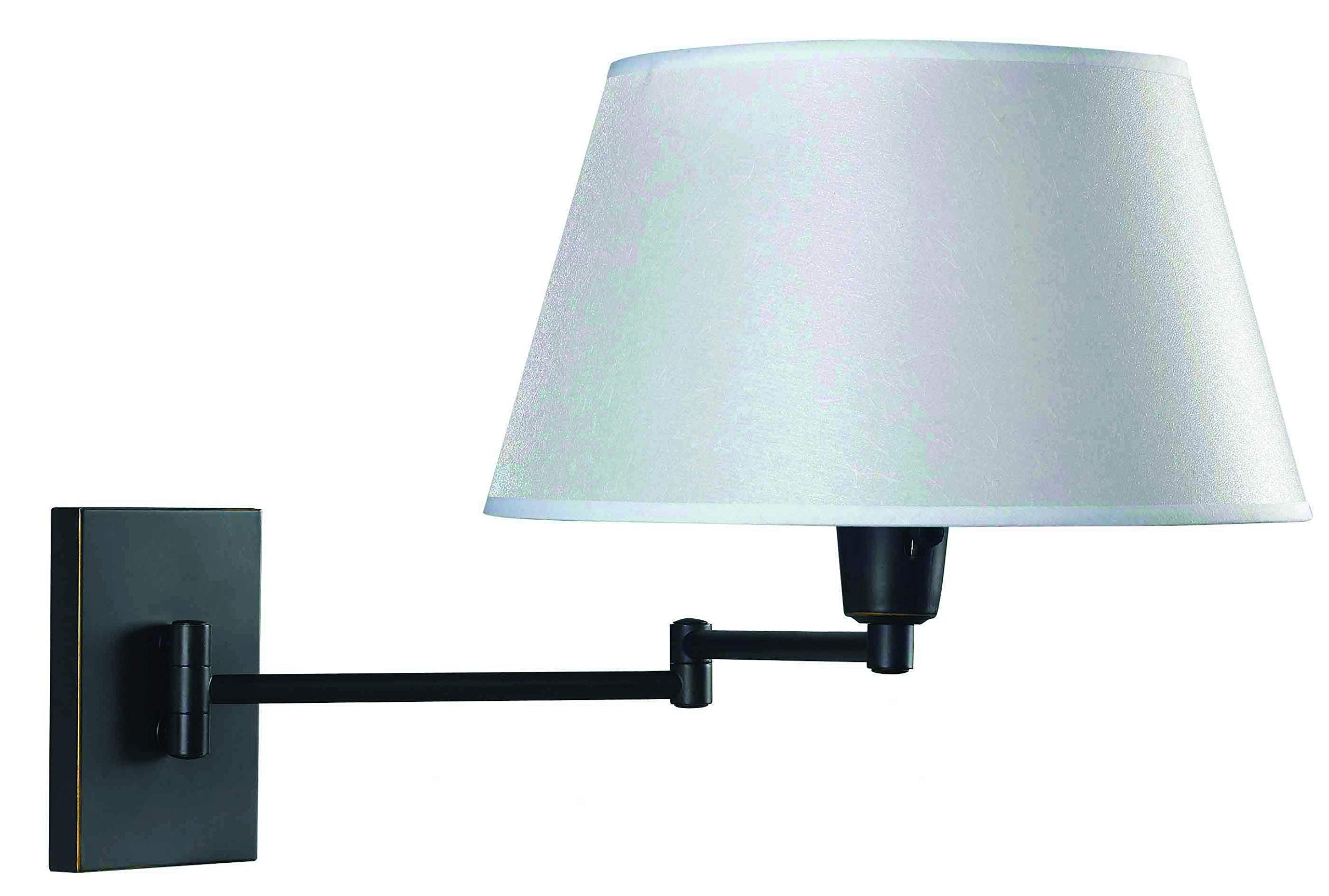 Kenroy Home Swing Arm Wall Lamp – Wall Mounted Plug In, Cord Covers Included, Oil Rubbed Bronze Finish with 13 inch Cream Fabric Shade, 25 inch reach