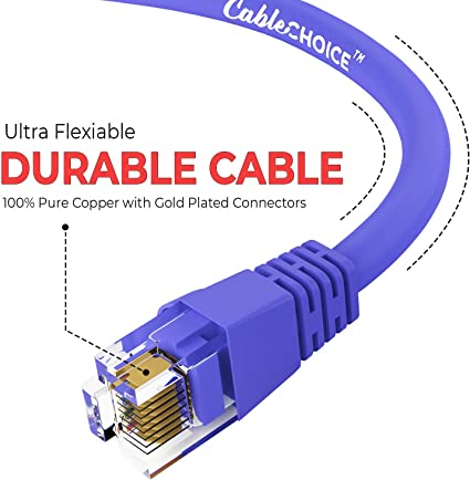 - 24AWG Network Cable with Gold Plated RJ45 Non-Booted Connector 550MHz 10 Feet - Black 10 Gigabit//Sec High Speed LAN Internet//Patch Cable CABLECHOICE Cat6 Ethernet Cable