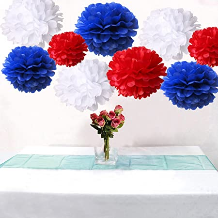 Dms 18pcs Mixed Royal Blue Red White Party Tissue Pom Poms Wedding