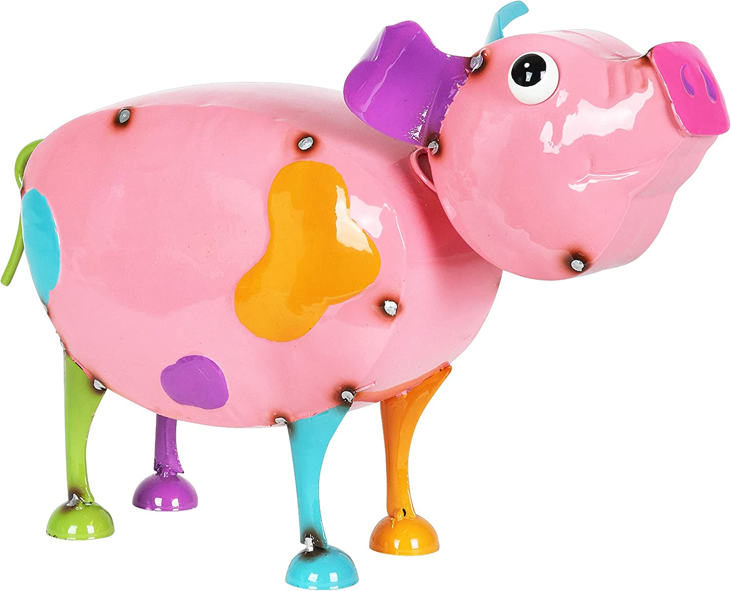 """Exhart Pink Metal Pig Statue – Cute, Hand-Painted Pig Sculpture w/Spring Bobblehead – Durable, Weather Resistant Metal Pig Garden Statue - Pig Yard Decoration for Home & Garden, 15.5"""" L x 6"""" W x 9"""" H"""