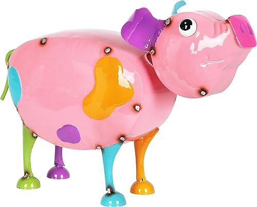 Exhart Pink Metal Pig Statue Cute