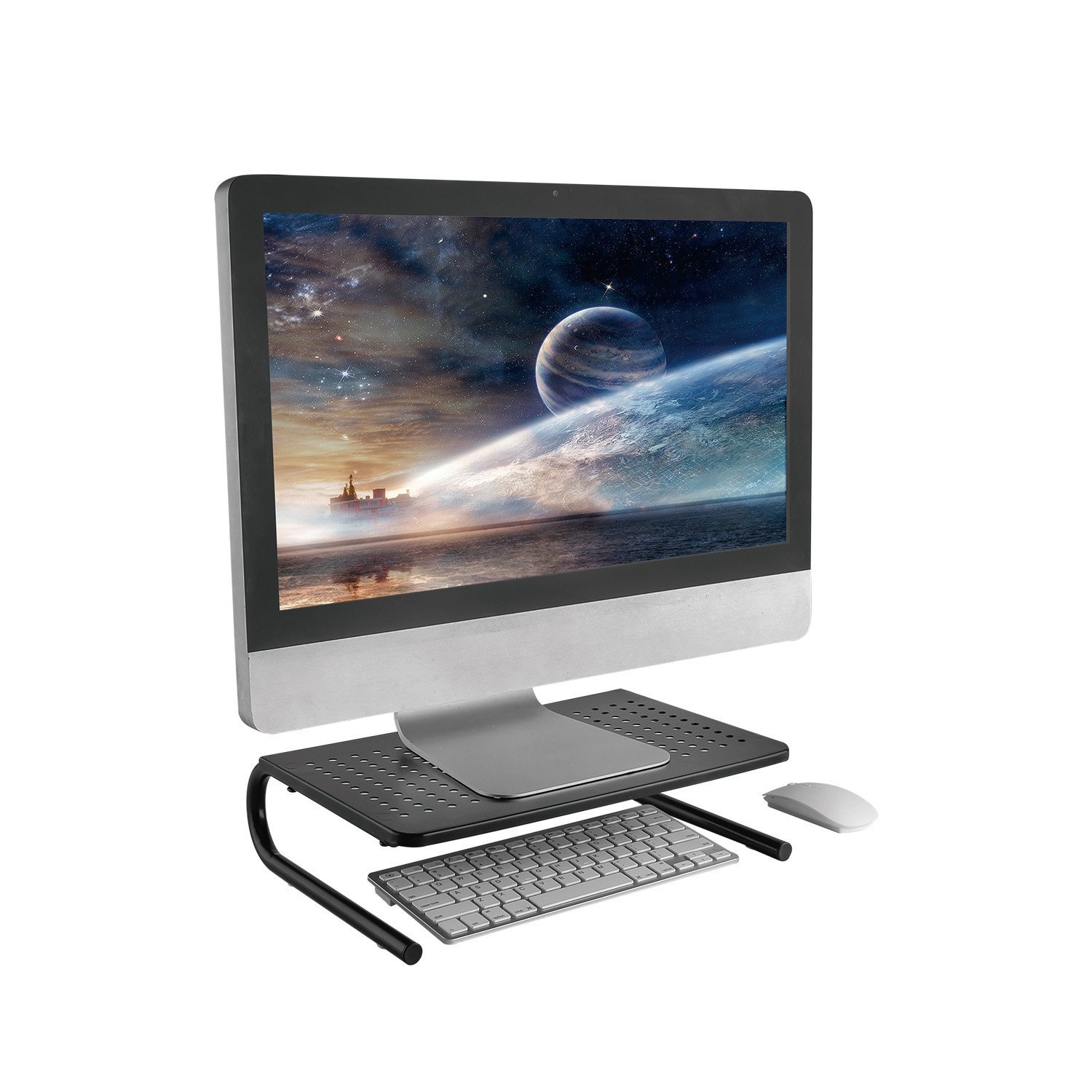 Monitor Stand Riser with Vented Metal for Computer, Laptop, Desk, iMac, Printer with 14.5 Platform 4 inch Height (Black, 2 Pack) by HUANUO (Image #6)