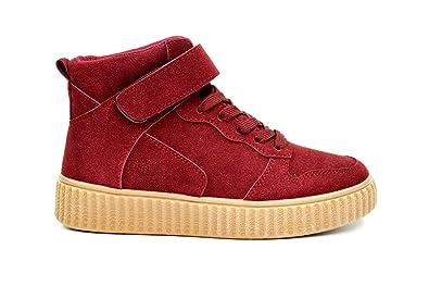 251b6d873aa949 SHY34 * Baskets Montantes Sneakers Tissu Effet Daim Uni avec Semelle  Compensée (Bordeaux),