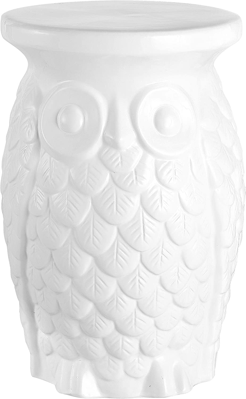 "Jonathan Y TBL1023A Groovy Owl 17.5"" Ceramic Garden Stool, White"