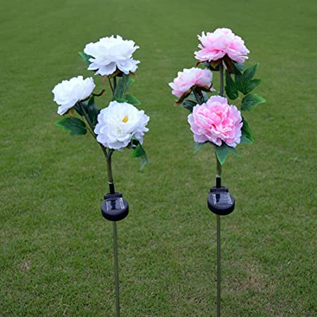 Jisen Flower Solar Power Lights 3 Peony Flower Outdoor Waterproof LED Lamps for Lamps Garden Yard Lawn Path Landscape Decoration Illumination