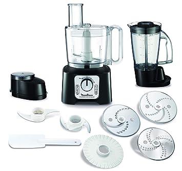 Moulinex FP546810 Robot de cocina 800 W 2 en 1, compacto con 6 velocidades, con vaso y jarra batidora y kit accesorios 1.25 litros, Negro: Amazon.es: Hogar