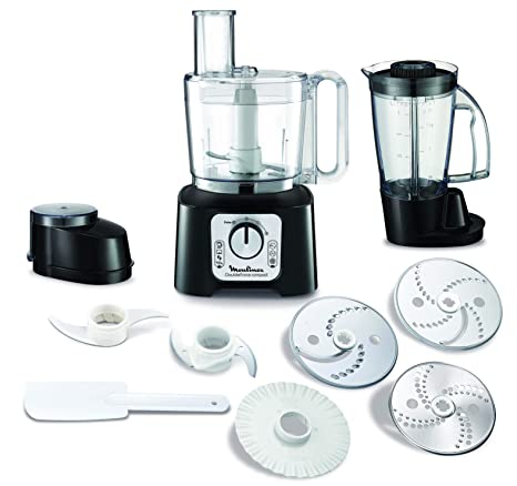 Moulinex FP546810 Robot de cocina 800 W 2 en 1, compacto con 6 velocidades, con vaso y jarra batidora y kit accesorios, 1.25 litros, Negro