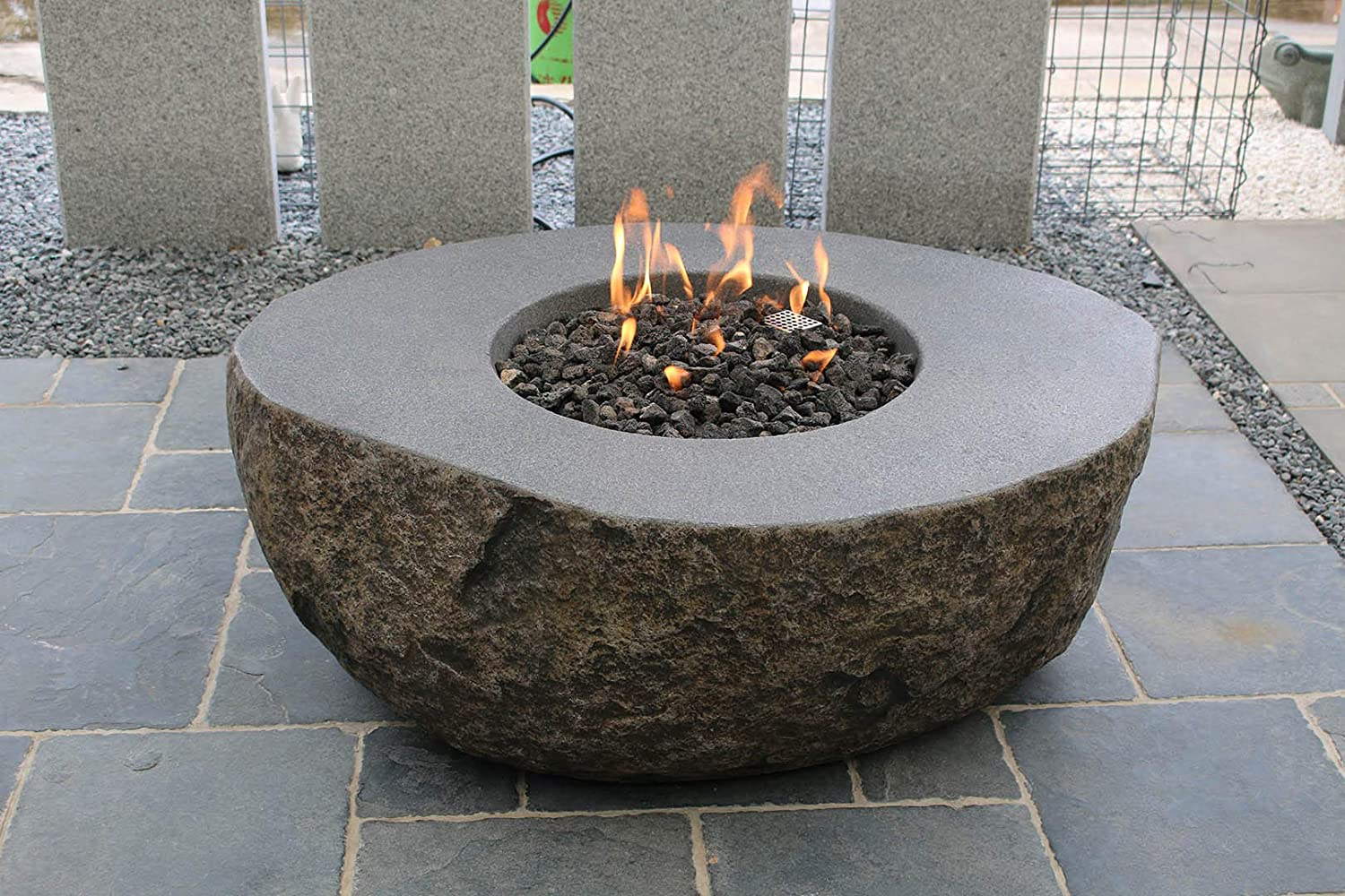 """Elementi Boulder Fire Pit Table Concrete Propane 43"""" x 35"""", Outdoor Heating Bowl Natural Rock Like Appearance, Fire Table Patio Furniture, CSA & CE Certified"""