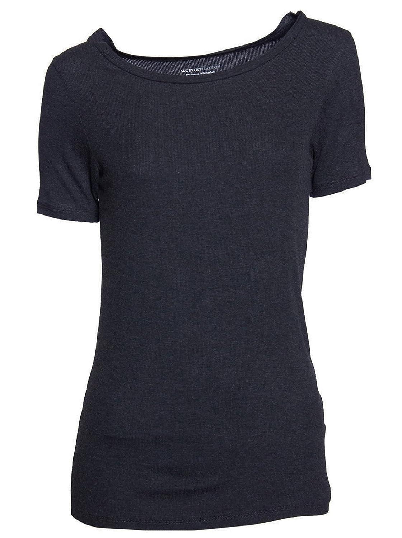 MAJESTIC Damen Tshirt Shirt kurzarm - Viskose grau