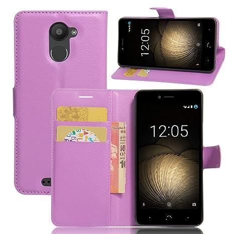 Nadakin BQ Aquaris U Plus Cartera de Cuero con Carcasa de Teléfono Flip Funda con Soporte Magnetico de Cierre para BQ Aquaris U Plus (Púrpura)