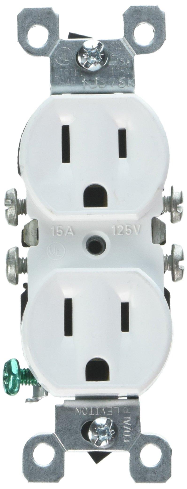 Leviton 12650-W 15 Amp, 125V, Co/ALR Duplex Receptacle, Straight Blade, Residential Grade, Grounding, 10-Pack, White
