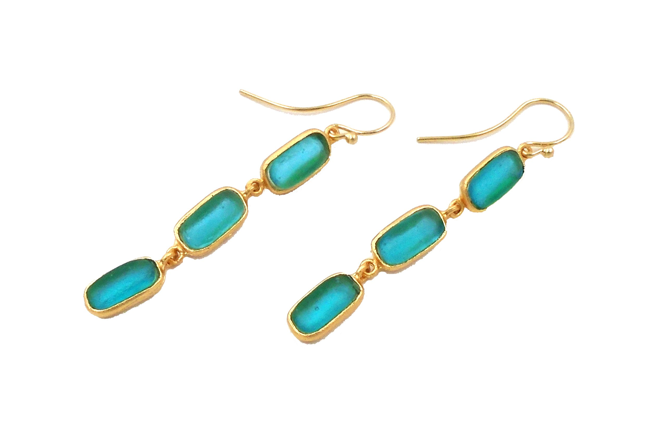 Michael Vincent Michaud- Glass ''Sm. Bar Hanging Earring'' in Teal