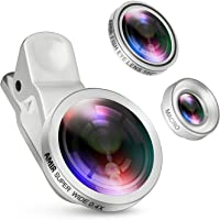 3-Pack Criacr Smartphone Lens, 0.4X Wide Angle Lens, 180-Degree Fisheye Lens and 10X Macro Lens (Silver)