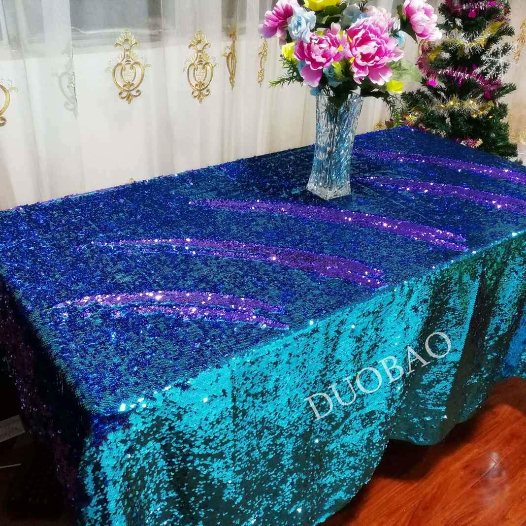 DUOBAO 72x108-InchRectangleSequinTableclothAqua to Lavender Mermaid Sequin Table Cover Glitter Table Cloths for Wedding/Party/Kitchen decorations-0612H