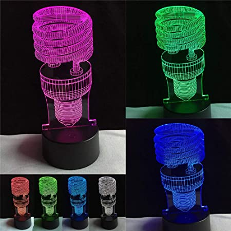 PDDXBB 3D Espiral De Ahorro De Energía Caliente 7 Colores ...