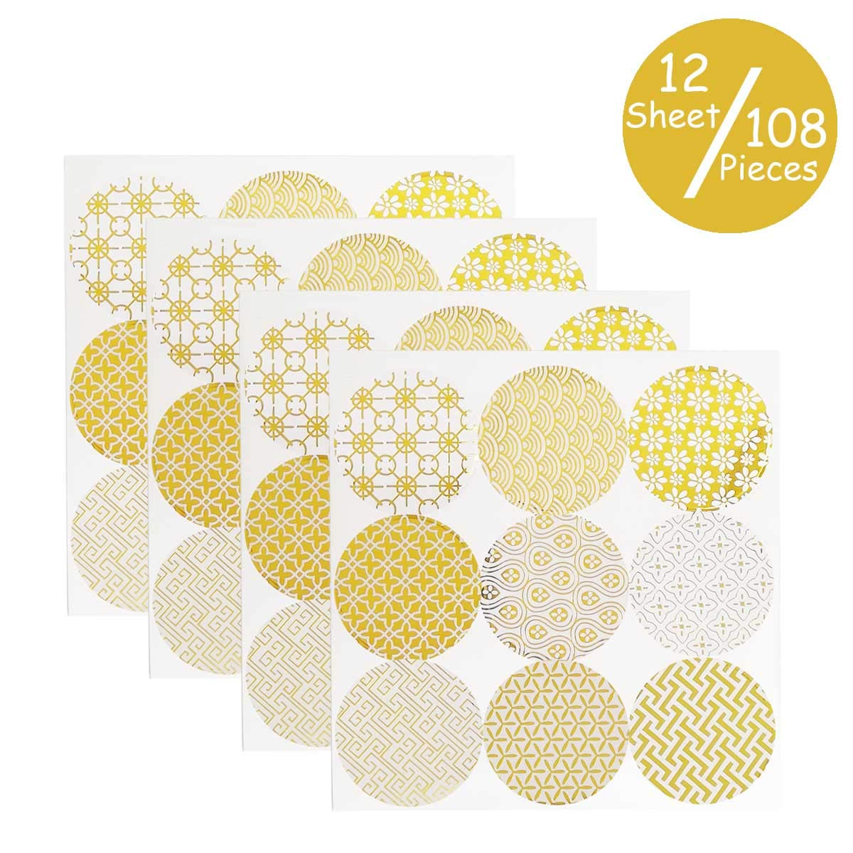 TTSAM 12 Sheets Decorative Gold Circle Envelope Seals Stickers Gift Boxes Stickers Party Favor Bags Stickers Label Stickers Holiday Birthday Party Wedding Baby Shower Decorations 108 Pieces